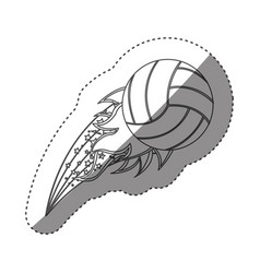 sticker grayscale contour with olympic flame with vector image
