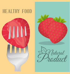 strawberry healthy food natural product vector image