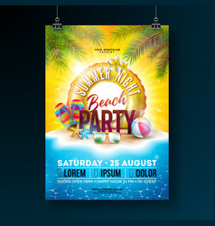 Summer night beach party flyer design with vector