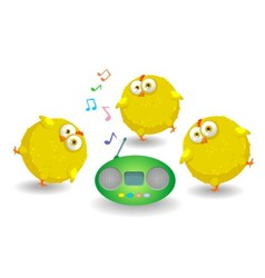 Three funny chicken dance vector image