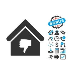 Thumb Down Building Flat Icon with Bonus vector image