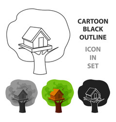 Tree house icon in cartoon style isolated on white vector