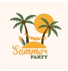 Tropical Holiday Island with Palm Trees Flat vector image