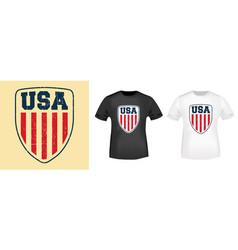 usa shield t-shirt print stamp for tee t shirts vector image