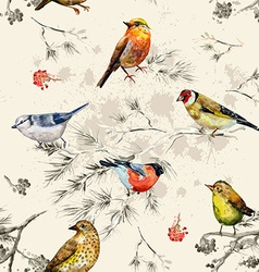 Vintage seamless texture of little birds vector