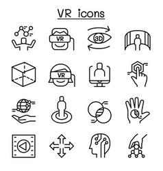 vr virtual technology icon set in thin line style vector image