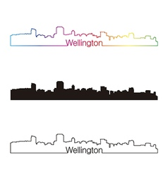 Wellington skyline linear style with rainbow vector