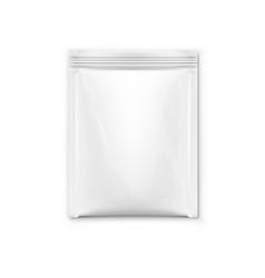 White blank foil pouch packaging for salt sugar vector
