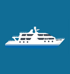 white luxurious passenger liner isolated on blue vector image