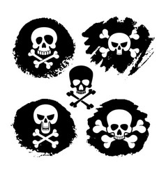 White piracy skull and crossbones icons vector