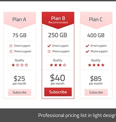 White pricing list with red elements vector