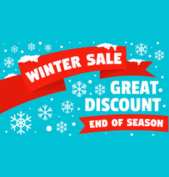 Winter sale great discount concept banner flat vector