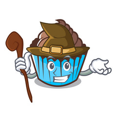 Witch chocolate cupcake mascot cartoon vector