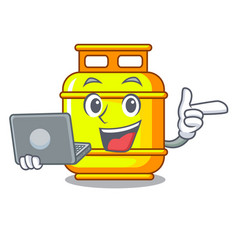 With laptop flammable gas tank on cartoon the vector