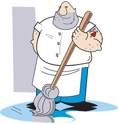 Worker with mop vector image