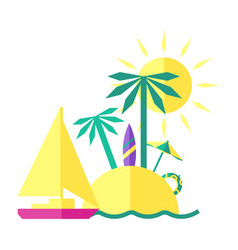 Colored summer of an island vector