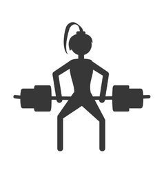 girl lifting barbell fitness gym vector image
