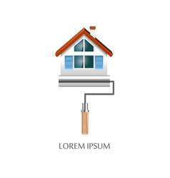 paint roller with house symbol icon vector image vector image