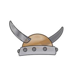 viking in horned helmet mask man halloween vector image