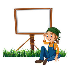 Woman and frame template vector image vector image