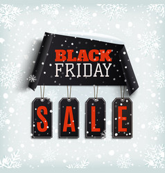 Black friday sale curved paper banner with black vector