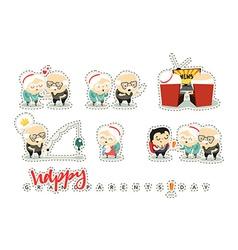 Characters elderly grandparents Doodle cute people vector image