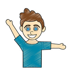 color pencil caricature half body boy with open vector image vector image