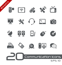 Communications Icons Basics vector image vector image