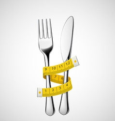 Fork and knife tied measuring tape vector image vector image