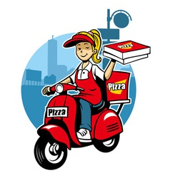 girl as a pizza delivery service ride a scooter vector image