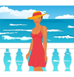 girl on quay vector image vector image
