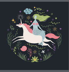 mermaid and unicorn vector image vector image