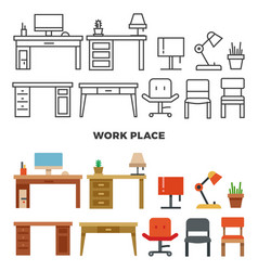work place furniture and collection - flat home vector image vector image