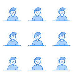 blue icons in flat line vector image