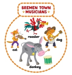 Bremen Town Musicians cartoon set vector image