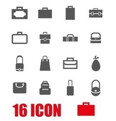 grey bag icon set vector image