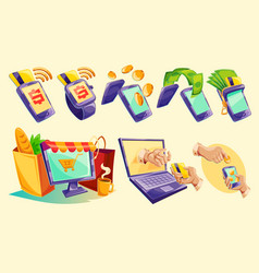 isometric icons of mobile phones laptop vector image vector image