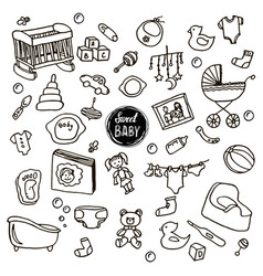 newborn baby set vector image vector image
