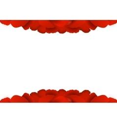 Rose petals border on white background vector image vector image