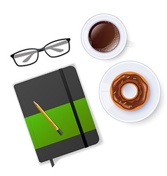 Scene with notebook and coffee vector image vector image