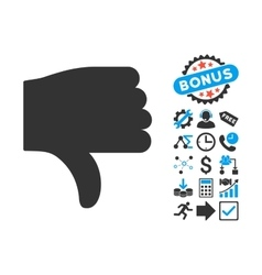Thumb Down Flat Icon with Bonus vector image