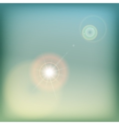 Vintage sky background with sun flare - blue and vector image vector image