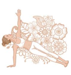 Women silhouette extended side plank yoga pose vector