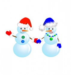 couple snowmen vector image