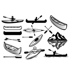 set of the kayaking sport icons canoe boats vector image