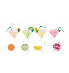 sruits fresh cocktail glasses set summer drinks vector image vector image