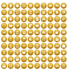 100 telephone icons set gold vector image