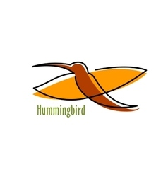 Abstract hummingbird in orange and brown vector image