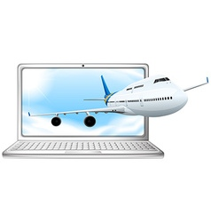 Airplane flying out of computer screen vector image