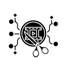 Algorithmic editing black glyph icon vector